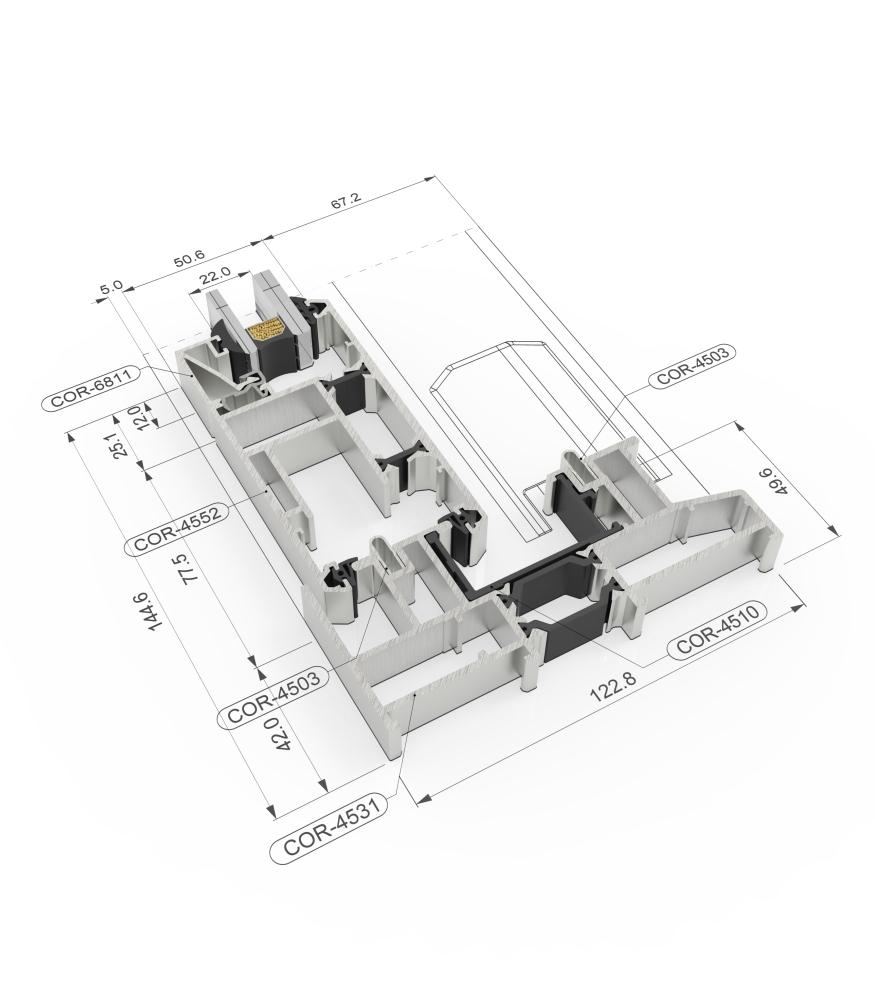 Sección del sistema 4500 Corredera Elevable RPT